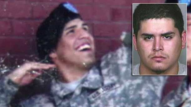 Ruben Ray Jurado, inset, is suspected in a shooting that paralyzed Christopher Sullivan at his homecoming party in San Bernardino, Calif.