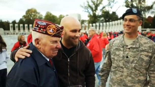 """Veterans are shown in a scene from """"Honor Flight."""""""