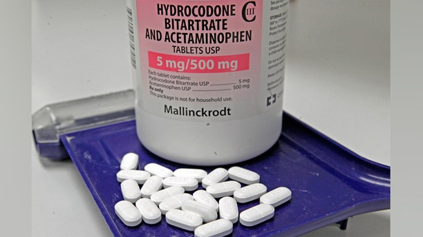 Hydrocodone bitartrate and acetaminophen pills, also known as Vicodin, are arranged for a photo at a pharmacy in Montpelier, Vt.
