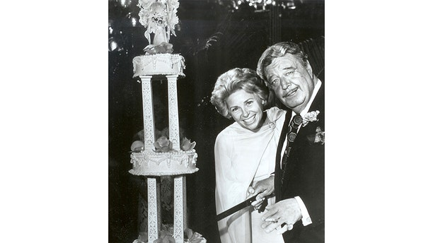 Jackie Gleason and his wife Marilyn on their wedding day.