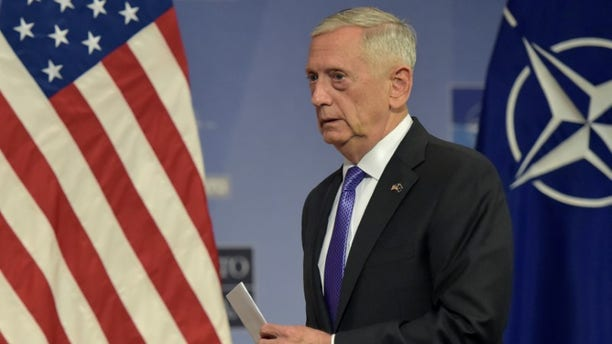 U.S. Secretary of Defence Jim Mattis leaves a news conference after a NATO defence ministers meeting at the Alliance headquarters in Brussels, Belgium June 29, 2017