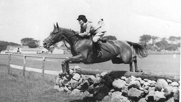 Janet Auchincloss on a horse before suffering from Alzheimer's.