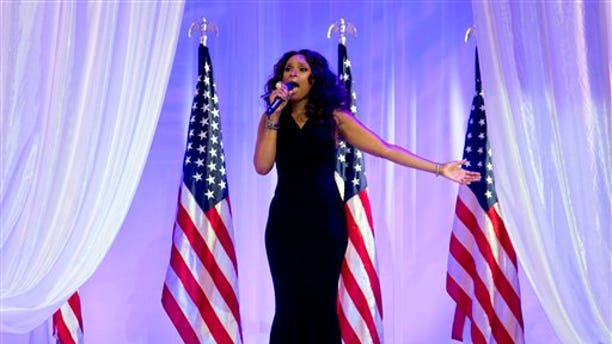In this Monday, Jan. 21, 2013,  file photo, Jennifer Hudson sings at the Inaugural Ball, in Washington, during the 57th Presidential Inauguration.