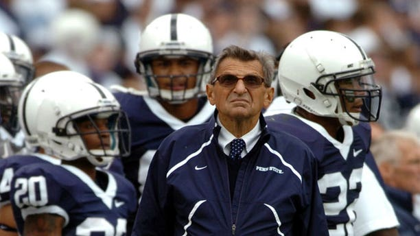 This Sept. 4, 2010 photo shows Penn State head football coach Joe Paterno on the sideline during a game against Youngstown State at Beaver Stadium in State College, Pa.