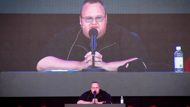 "Jan. 20, 2013: Megaupload founder Kim Dotcom practices a speech before the launch of his new file-sharing website, called ""Mega,"" at his Coatesville mansion in Auckland, New Zealand."