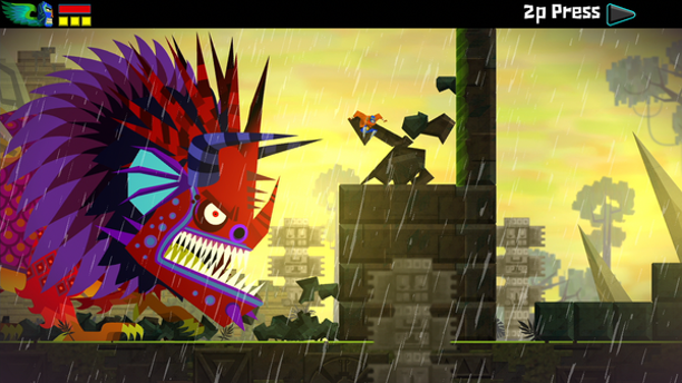 Juan runs from an Alebrije in Guacamelee.