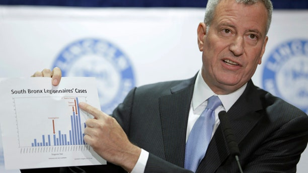 Aug. 4, 2015: New York City Mayor Bill de Blasio holds up a chart documenting the cases of Legionnaires' disease while speaking to reporters at Lincoln Hospital in the Bronx borough of New York.