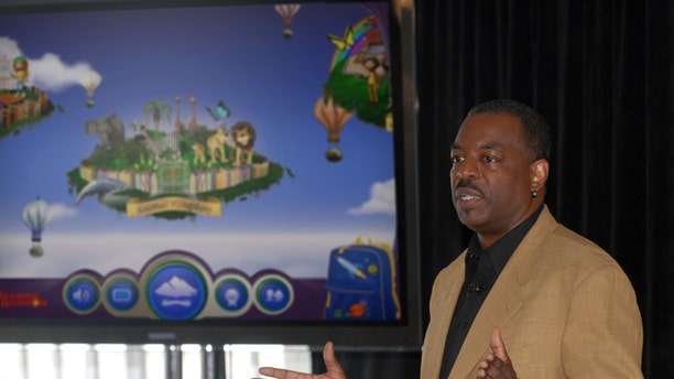 "June 19, 2012. LeVar Burton introducing the all new Reading Rainbow adventure app to the media, publishers and parents at the ""Reading Rainbow Relaunch"" event in New York."