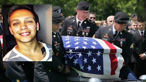 A photo composite of a photo of Sgt. Luis Jimenez over a funeral service for a fallen army soldier.