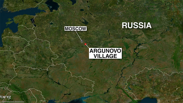 A map showing where a Russian jet carrying 71 people crashed Sunday afternoon outside Moscow.