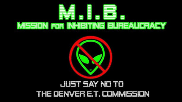 An image on the Facebook group for the Mission for Inhibiting Beaurocracy explains its mission: preventing what it views is a frivolous vote on alien life.