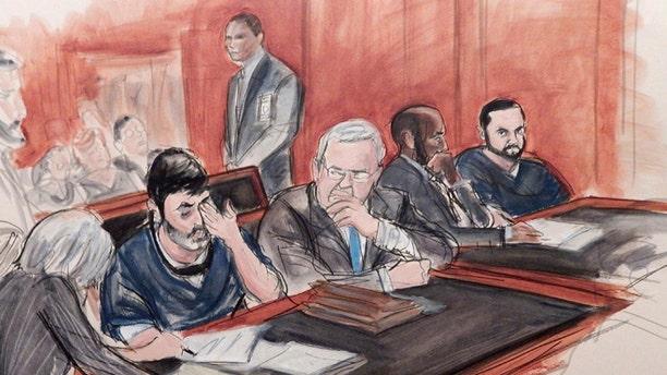 Efrain Antonio Campo Flores and his cousin Franqui Francisco Flores De Freitas, in a courtroom sketch.