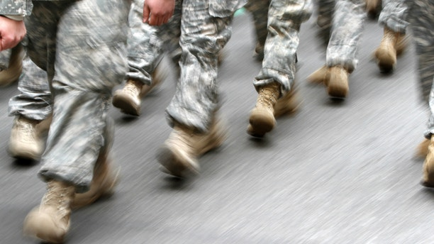 U.S. army soldiers are seen marching in the St. Patrick's Day Parade in New York.