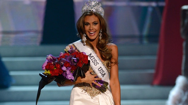 June 16, 2013: Miss Connecticut Erin Brady reacts after winning the Miss USA 2013 pageant in Las Vegas.