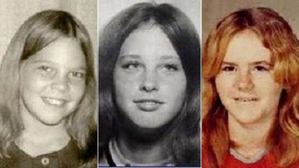 From left to right, Julie Ann Moseley, Rachel Trlica, and Lisa Renee Wilson were reporting missing on Dec. 23, 1974 after shopping at a mall in Fort Worth, Texas.