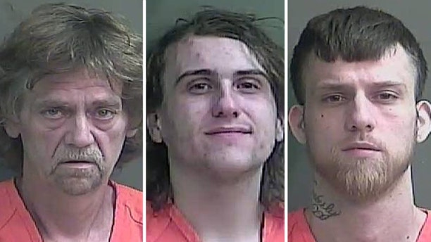 Previous mugshots, according to Fox 59, of John Baldwin Sr. (left), Anthony Baumgardt (middle), John D. Baldwin Jr. (right)