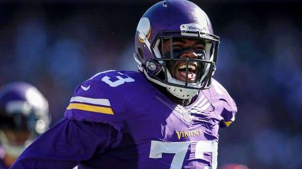 Sunday, Oct. 18: Minnesota Vikings defensive tackle Sharrif Floyd celebrates after a sack against the Kansas City Chiefs in the second quarter at TCF Bank Stadium in Minneapolis.