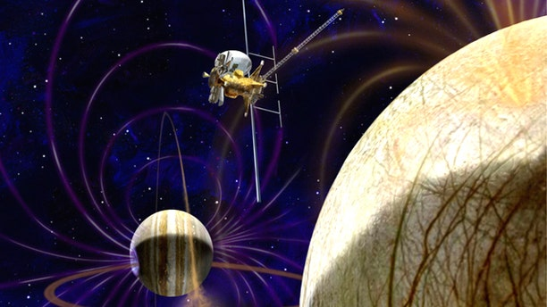This artists concept shows NASA's Jupiter Europa Orbiter, which will carry a complement of 11 instruments to explore Europa and the Jupiter system. The spacecraft is part of the joint NASA-ESA Europa Jupiter System Mission.