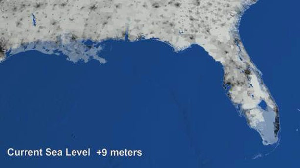 """In a NASA """"what-if"""" animation, light-blue areas in southern Florida and Louisiana indicate regions that may be underwater should sea levels rise dramatically."""