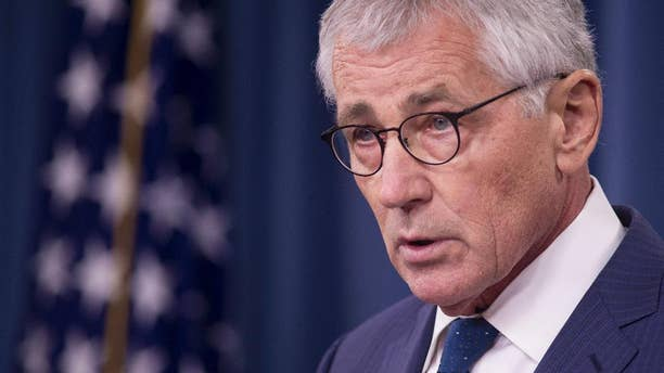 In this Thursday, Jan. 22, 2015, file photo outgoing Defense Secretary Chuck Hagel speaks during a news conference at the Pentagon. With NATO officials calling Russia more unpredictable now than during the Cold War, alliance defense ministers on Thursday, Feb. 5, 2015,  are expected to approve further measures to enhance NATO's ability to deter and, if necessary, respond to military threats from Moscow, officials said. (AP Photo/Cliff Owen)