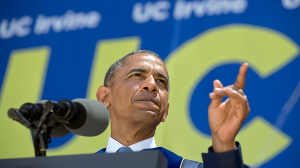 June 14,  2014: President Obama talks to the graduating class of the University of California, Irvine, at Angel Stadium in Anaheim, Calif.