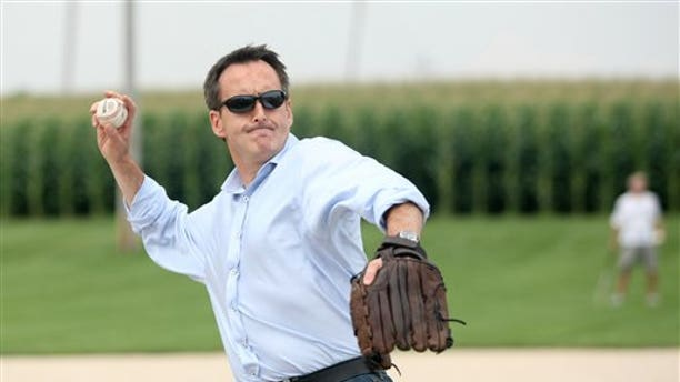 Friday: Republican presidential candidate Tim Pawlenty throws a pitch at the Field of Dreams in Dyersville, Iowa during a break between campaign stops.