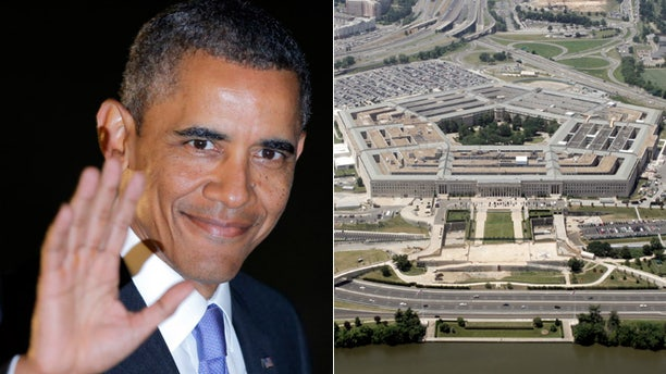 This split photo shows President Barack Obama, left, and the Pentagon, right.