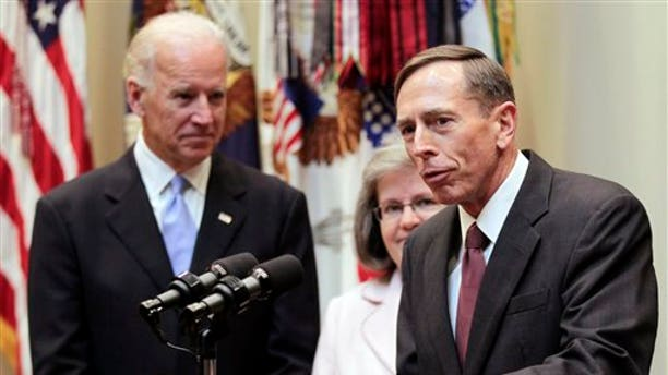 Sept. 6: CIA director David Petraeusspeaks following his swearing-in ceremony with his wife Holly Knowlton Petraeus and Vice President Joe Biden in the Roosevelt Room of the White House in Washington.