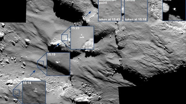 Images showing the Philae lander's journey as it approached and then rebounded from its first touchdown.