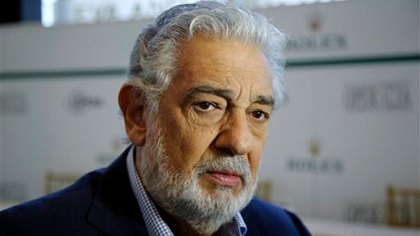 Placido Domingo gives details about the opera competition Operalia at the Dorothy Chandler Pavilion in Los Angeles, Tuesday, Aug. 26, 2014.