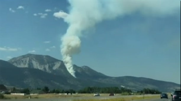 A small aircraft crashed Sunday on a rugged and scenic mountain south of Reno, igniting a wildfire in Nevada. (Kris Swaczyna via Storyful)