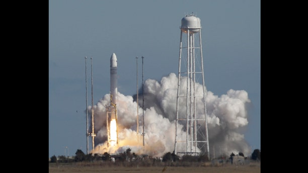 April 21, 2013: Orbital Sciences Corp.'s Antares rocket lifts off from the NASA facility on Wallops Island, Va. The rocket will eventually deliver supplies to the International Space Station.