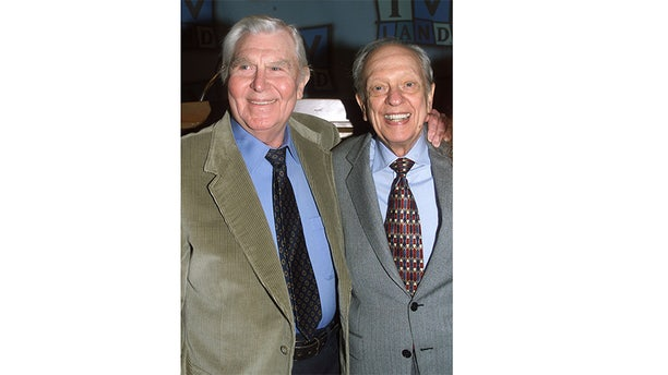 "Actor Don Knotts, best known for his role as Deputy Barney Fife on the popular 1960's television series ""The Andy Griffith Show,"" poses at a luncheon honoring Knotts with actor Andy Griffith. Knotts received a star on the Hollywood Walk of Fame on January 19, 2000."