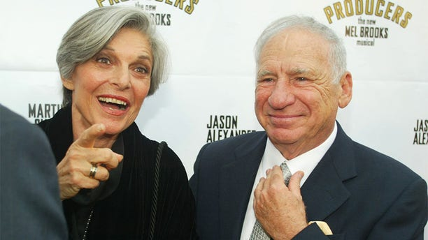 "Actor Mel Brooks and wife actress Anne Bancroft arrive for opening night of the musical he created, ""The Producers"" May 29, 2003 in Hollywood."
