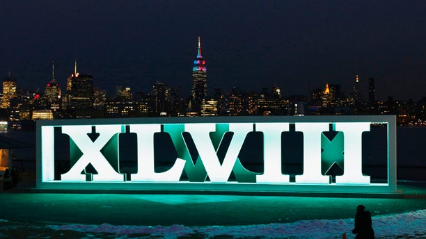 Jan. 28, 2014: The New York skyline and the Empire State Building are seen in the distance as a woman tries to take a picture of Roman numerals for NFL Super Bowl XLVIII football game in Hoboken, New Jersey, January 28, 2014. New Jersey's MetLife Stadium will host the first outdoor, cold-weather Super Bowl on February 2. (Reuters)