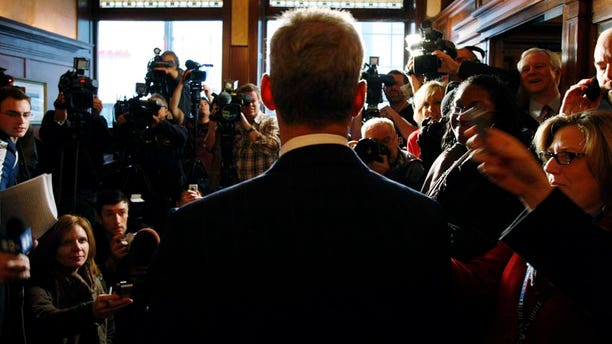 Chicago Mayor Rahm Emanuel takes questions from press.