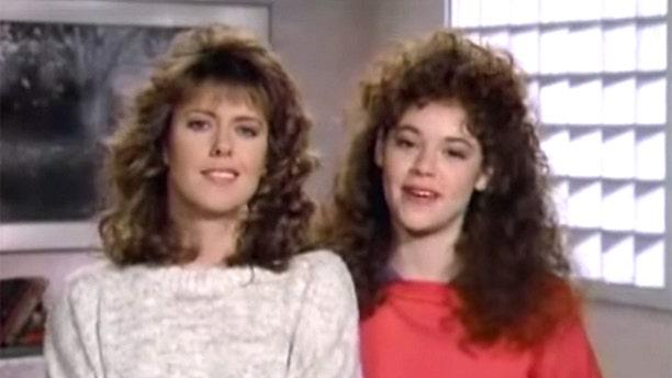 "Rebecca Schaeffer (right) with Pam Dawber in ""My Sister Sam."""
