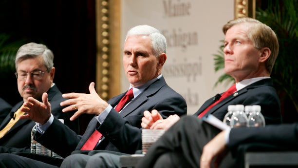 FILE: Nov. 15, 2012: Fr. left, Iowa Gov. Terry Branstad, Indiana Gov.-Elect Mike Pence and Virginia Gov. Bob McDonnell at Republican Governor's Assoc. meeting in Las Vegas.