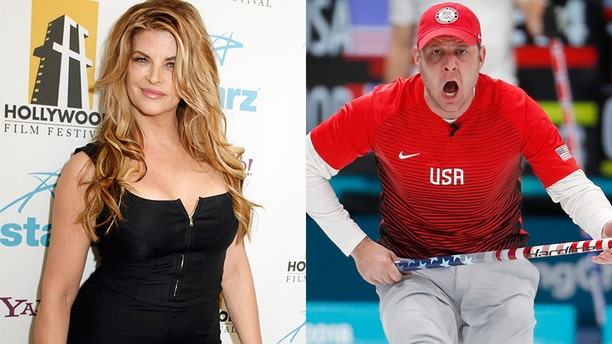 """Actress Kirstie Alley (left) gets slammed by Team USA's John Shuster after she called curling """"boring"""" during the Olympics."""