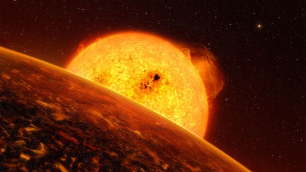 An artist's impression of Corot-7b, the first exoplanet confirmed to have rocky terrain like Earth's.