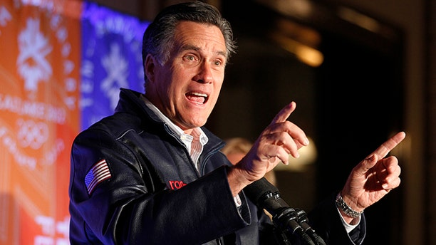 Feb. 18, 2012: Republican presidential candidate Mitt Romney speaks to a group of former Salt Lake City Olympic committee members marking the 10th anniversary of the games.