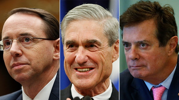 Former Trump campaign chairman Paul Manafort, right, and his legal team, are suing Special Counsel Robert Mueller, center, and Deputy Attorney General Rod Rosenstein, alleging the Russia probe has gone beyond the scope of the special counsel regulations.