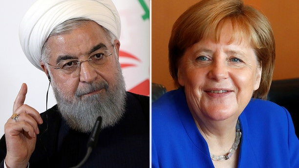 Angela Merkel's government had been seeking to circumvent pending U.S. sanctions; the sanctions have heaped pressure on Iranian President Hassan Rouhani (left)