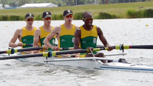 Aug. 2, 2012: South Africa rowers, from left, James Thompson, Matthew Brittain, John Smith and Sizwe Ndlovu compete to win the gold medal in the men's lightweight four rowing final at the London 2012 Summer Olympics in Eton Dorney, near Windsor, England.