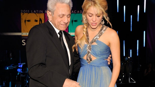 LAS VEGAS, NV - NOVEMBER 09:  William Mebarak Chadid (L) and singer Shakira in the audience during the 2011 Latin Recording Academy's Person of the Year honoring Shakira at Mandalay Bay Resort & Casino on November 9, 2011 in Las Vegas, Nevada.  (Photo by Frazer Harrison/Getty Images for Latin Recording Academy)