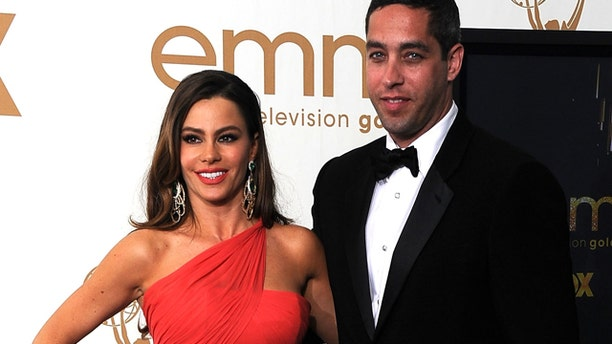 Sept. 18, 2011: Actress Sofía Vergara of 'Modern Family' and boyfriend Nick Loeb pose in the press room after 'Modern Family' wins Outstanding Comedy Series during the 63rd Annual Primetime Emmy Awards held at Nokia Theatre L.A. live in Los Angeles, Calif.