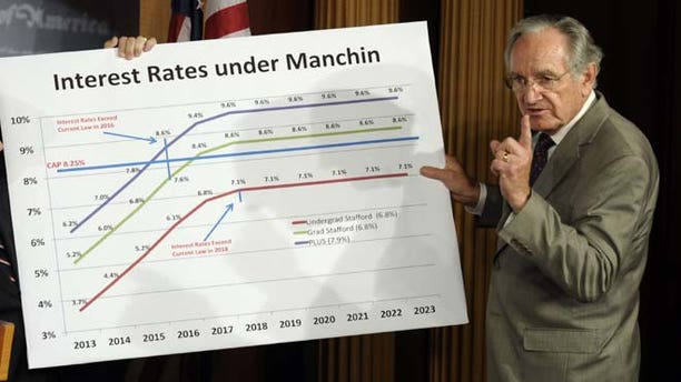 Thursday, June 27, 2013: Senate Health, Education, Labor and Pension Committee Chairman Sen. Tom Harkin, D-Iowa, discusses a graph and legislation to try and prevent the increase in the interest rates on some student loans during a news conference on Capitol Hill in Washington.