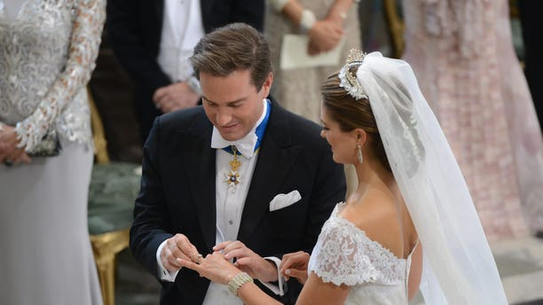 Princess Madeleine of Sweden and Christopher O'Neill during their wedding ceremony at the Royal Chapel in Stockholm.