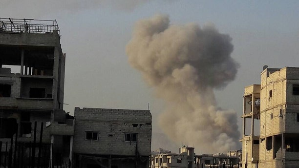 Syrian opposition groups claim this explosion from a gas attack comes from Assad and Russian attacks in Ghouta. (Syrian American Council)