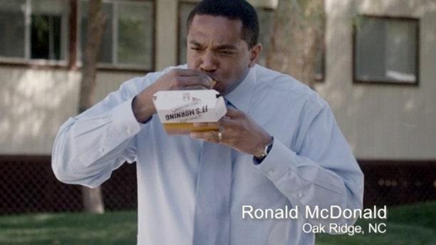 Ronald McDonald of Oak Ridge, N.C., in a Taco Bell commercial.